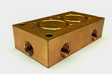 Water cooled, machined copper part