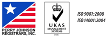 Perry Johnson Registrars, Inc. and UKAS logos, ISO certifications