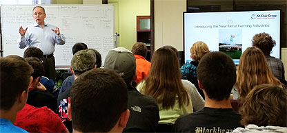 Ron St. Clair talking to North Putnam High School Advanced Manufacturing Students